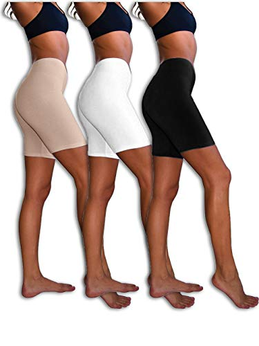 Sexy Basics Womens 3 Pack Sheer & Sexy Cotton Spandex Boyshort Yoga Bike Shorts (2XL, Black /White /Kahki) ()