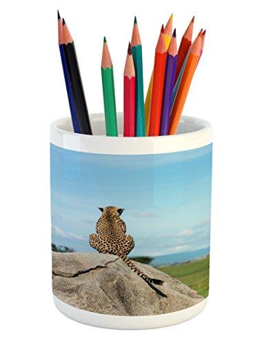 Cheap  Lunarable Jungle Pencil Pen Holder, Wild Cheetah Sitting on a Rock and..