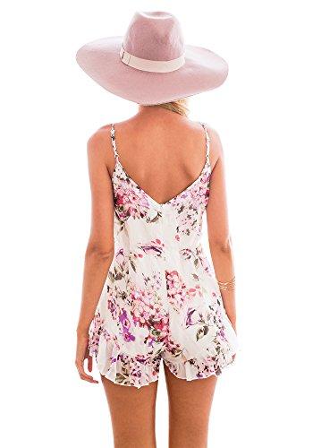 Lookbook Store® Damen Spagetti-Träger Jumpsuit mit Blumendruck Mehrfarbig