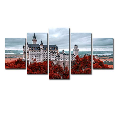 Mytinaart Art - Modern Landscape Wall Art Germany Autumn Neuschwanstein Castle Photography Posters Paintings On Canvas HD Prints 5 Piece Pictures for Home Decor Room Unframed Price Only Print Canvas