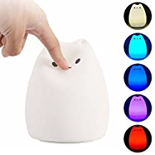 DIGOU® Cute Kitty LED Children Night Light Kids Silicone Cat Lamp 7-Color Flashing USB Rechargeable Lighting For Baby Nursery Bedside Lamp