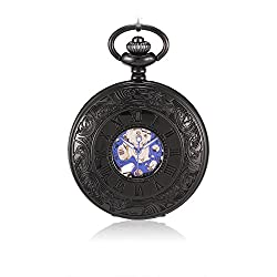 Sinopic Classic Pocket Watch for Men with Vintage Blue Roman Numerals Skeleton Black Dial with Chain