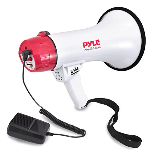 Pyle Bluetooth Bullhorn PA Megaphone - iPhone Megaphone Speaker with Wired Microphone, Siren Alarm Mode, MP3/USB/SD Readers - PMP42BT_0]()
