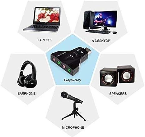 ZengBuks Adattatore Scheda Audio Audio virtuale a 7.1 canali per PC Laptop Mic 3,5 mm Interfacce USB Mic Speaker Adapter Semplice utilizzo Nero