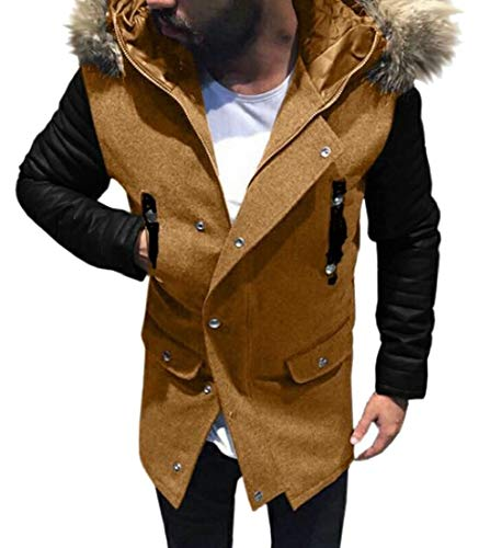 Used, Generic Men's Wool Blend Trench Coat Winter Faux Fur for sale  Delivered anywhere in USA