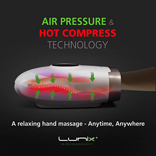 Lunix Cordless Electric Hand Massager | 6 Levels Pressure Point Therapy Massager for Arthritis, Pain Relief, Carpal Tunnel & Finger Numbness | Shiatsu Massage Machine w/Heat | Black Co. | Great GlFT
