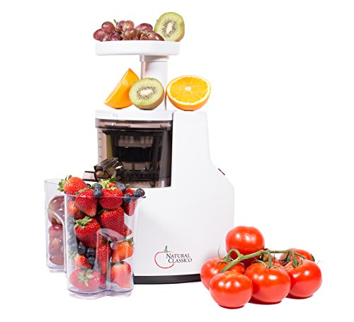 Nutritional Center Slow Speed Masticating Juicer by Natural Classico Fresh Healthy Fruit and Vegetable Juice at 85 Revolutions Per Minute by Natural Classico