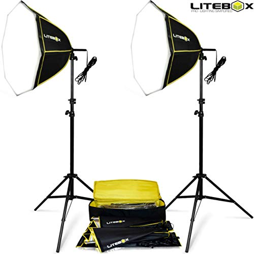 STUDIO-240X   Set of 2 Softbox Lights with Stands and Bag   Professional Lighting for YouTube Video Filming Portrait Photography Product Photoshoots & More! - by LITEBOX