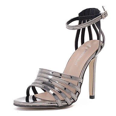 db1baef8d7b LvYuan Mujer Sandalias Cuero Patentado Verano Hebilla Tacón Stiletto Negro  Gris oscuro 10 - 12 cms