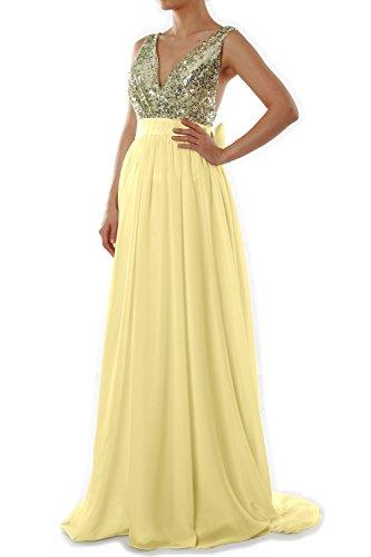 Sequin Wedding Gown Formal Gold Long Party V Dress Women MACloth Prom Neck Evening Light qA4ZZt