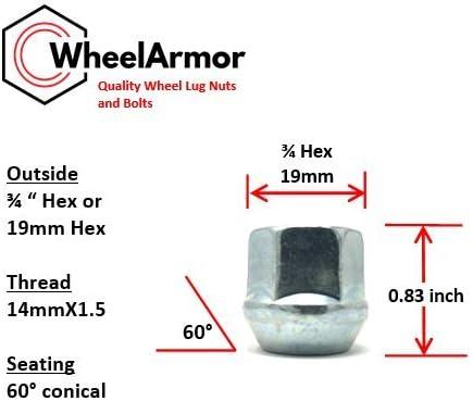 14mm-1.5 3//4 HEX 0.83 Length pack of 24 Zinc Finish WheelArmor WA09-24 Open End Acorn Bulge Lug Nuts
