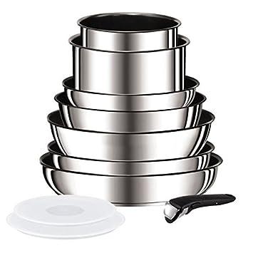 0ba48aa00d6694 Tefal set 10 pieces ingenio préférence gris  Amazon.fr  Cuisine   Maison