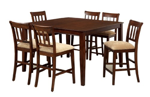 Furniture of America Counter Height Stoney 7-Piece Dining Set, Brown (7 Piece Cherry Brown Counter)