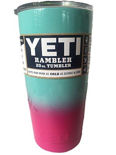 Powder Coated 20oz Yeti Rambler (Pink a Teal Blue Fade)