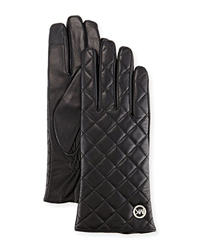 Michael Kors Womens Quilted Leather Tech Gloves Black (Small) (Black Leather Quilted Gloves)