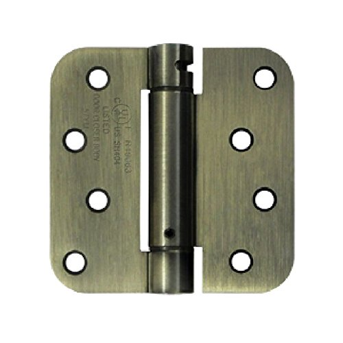 Deltana DSH4R55T Single Action Steel 4-Inch x 4-Inch 5/8-Inch Radius Corner TT Spring Hinge by Deltana
