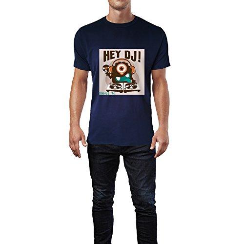 SINUS ART® Hey DJ! Monster mit Turntables Herren T-Shirts in Navy Blau Fun Shirt mit tollen Aufdruck