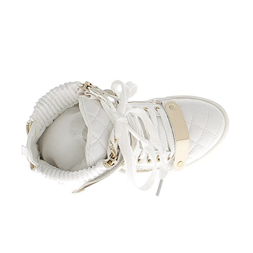 Sneakers con zeppa bianco aumentante riempite con tacco 7cm
