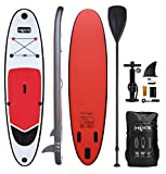 HIKS Products Unisex's HIKS Red 10ft / 3m Stand SUP Board Set Inc Paddle, Pump, Backpack & Leash Suitable All Abilities Ideal Beginners Inflatable Paddleboard Kit, One size