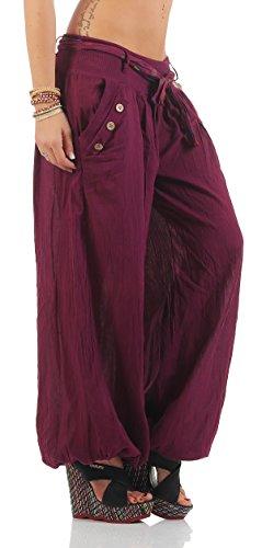 Moda Italy Pantalones harén pantalones bombachos harén con colores sólidos cinturón Aladdin Yoga verano una talla Bordeaux