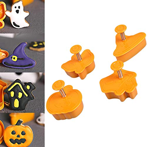 4Pcs /Set Special Halloween Pumpkin Fondant Cookie Fruit Cutters Biscuit Cake Mold Mould 3D Molds Cutter Modelling Tools -