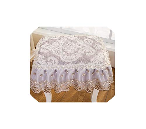 Classical Lace Square Stool Cover Floral Piano Chair Cover Makeup Stool Cover for Seat Cushion,5,Rectangle 30X40Cm