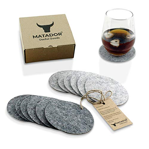 Absorbent Coasters for Drinks - Housewarming Gifts for New Home - Protect Furniture - Set of 12 (6 Dark + 6 Light Grey) Felt, Round Shape, Matador Useful Goods -