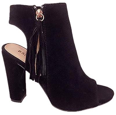 Bamboo Women's Peep Toe Platform Sling Back Ankle Strap Faux High Heel Sandals