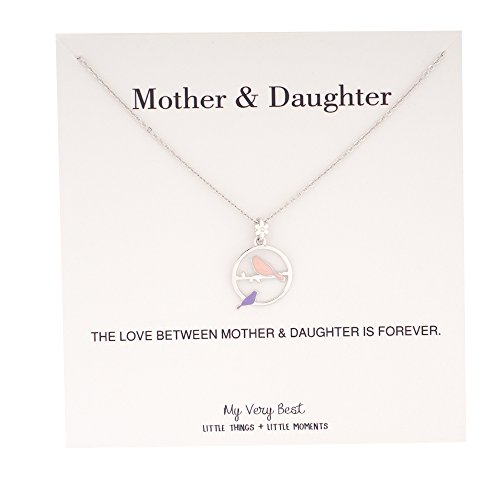 My Very Best Mommy and Baby Bird Together Circle Necklace (silver plated brass_pink purple birds)