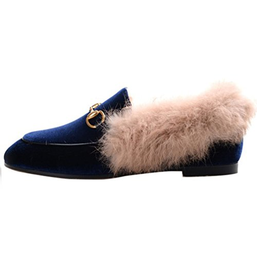 Enmayer Dames Zwart Retro Mode Loafers Ronde Neus Op Platte Outdoor Pantoffels Met Harige En Gesp Blue1 (fluweel) Blue1 (fluweel)