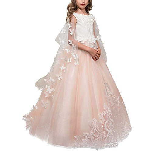 OBEEII Big Girl Tutu Dress Lace Flower Butterfly Floor Length Junior Bridesmaid Pageant Wedding First Communion Prom Princess Ball Gown 8-9 (Embellished Dress Butterfly)