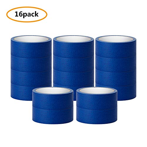(Blue Painter Tape, 16 Roll Multi Use Purpose Masking Tape, 1.4''/36mm Wide, 160 Yard Total)
