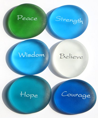 Yoga Rocks - Lifeforce Glass The Mermaid's Message I, Frosted Sea Glass Stones, Six Inspiring Words in Beach Colors