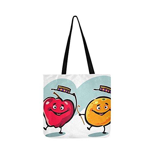 Dancing Fruit Apple Organic Fruit Healthy Food Canvas Tote Handbag Shoulder Bag Crossbody Bags Purses For Men And Women Shopping Tote