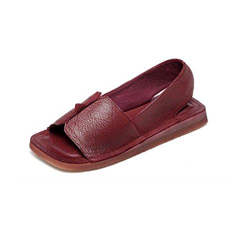 Retro Fischkopf Bequeme Flache Sandalen Von Hand Red