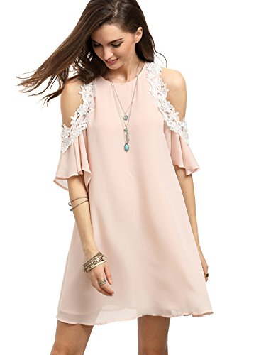MakeMeChic Women's Cold Shoulder Casual Chiffon Summer Beach Dress