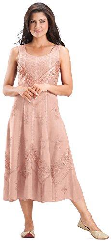HolyClothing Kayla Satin Embroidered Renaissance Princess Sun Dress - X-Large - Cotton Candy (Cotton Candy Princess)