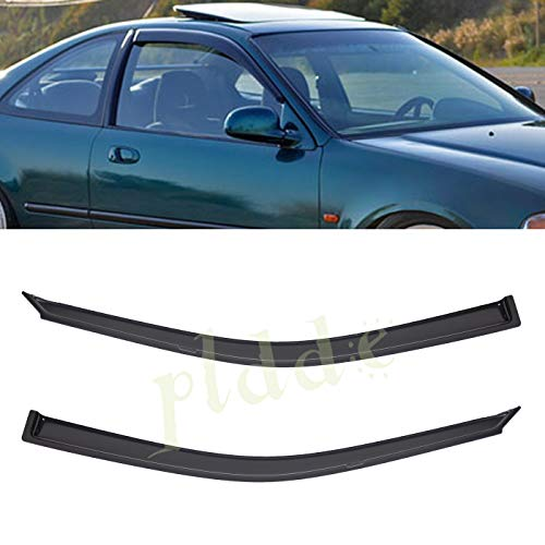 PLDDE 2 pcs For 92-95 Honda Civic 2-Door Coupe/3-Door Hatchback Front+Rear Sun/Rain Guard Outside Mount Window Visors