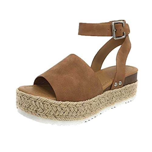 POHOK Hemp Thick with Women Sandals Casual Women's Rubber Sole Studded Wedge Buckle Ankle Strap Open Toe Sandals(37,Brown) ()