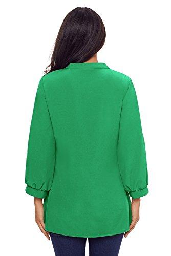 Nouveau Vert Dentelle et détail plissé à boutons Blouse de soirée pour femme Tenue décontractée d'été Taille UK 14EU 42