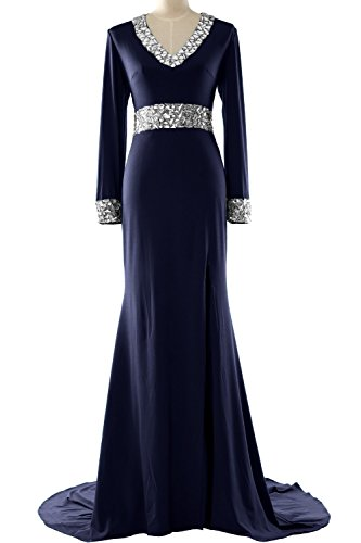 MACloth Women Long Sleeve Mother of the Bride Dress V Neck Formal Evening Gown Azul Marino Oscuro
