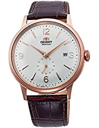 Men's 'Bambino Small Seconds' Japanese Automatic Stainless Steel and Leather Dress Watch, Color:Brown (Model: RA-AP0001S10A)