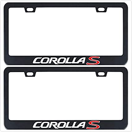 1 Auggies Corolla S Sport Black Red Stainless Steel Black License Plate Frame Cover Holder Rust Free with Caps and Screws