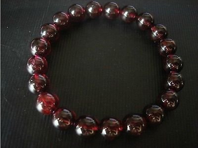 - Genuine Natural 10mm Wine Red Garnet Round Beads Stretch Bracelet Bangle 7.5''