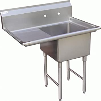 ACE 1 Compartment Stainless Steel Sink With Left Drainboard, 18 By 18u0026quot;