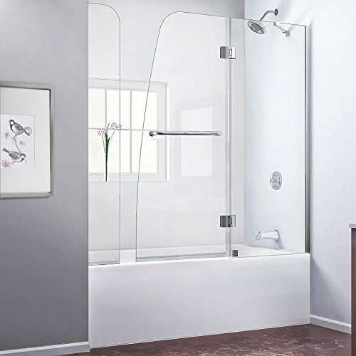 DreamLine Aqua 56-60 in. W x 58 in. H Frameless Hinged Tub Door with Extender Panel in Brushed Nickel, (04 Aqua Shower Door)
