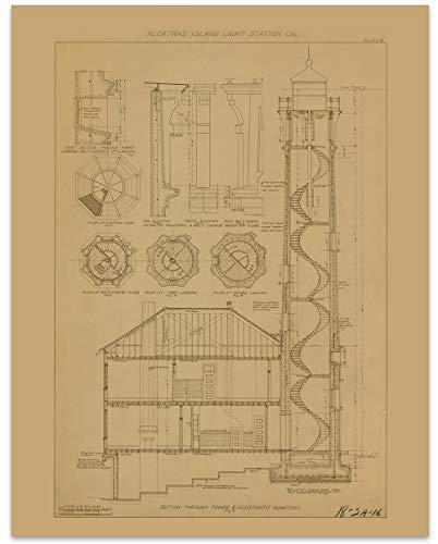 - Alcatraz Island Prison Tower Blueprint Vintage Print - 11 x 14 Unframed Print - Great Housewarming Gift. Alcatraz Themed Office Decor. Great Gift Under $15