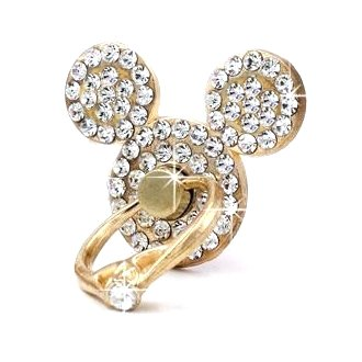 Mickey Mouse Stand - AccessoryHappy Mickey Ears Ring Stand, Rhinestone Crystal Bling Diamond 360° Rotation Cell Phone Stent Holder Grip Kickstand for iPhone 7 7 Plus iPhone 8 8 Plus 6S 6 Galaxy S7 S8 (Clear)