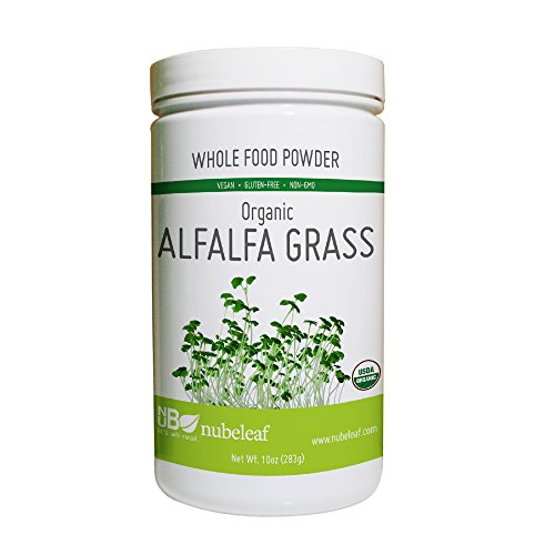 Nubeleaf Alfalfa Grass Powder - Non-GMO, Gluten-Free, Raw, Organic, Vegan Source of Essential Vitamins & Minerals - Single-Ingredient Nutrient Rich Superfood for Cooking, Baking, Smoothies (10oz) - Foods Alfalfa Powder