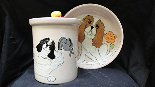 6'' Dog Bowl for Food or Water and Treat Jar, Personalized at no Charge. Signed by Artist, Debby Carman. by Faux Paw Productions, Inc., Laguna Beach, CA